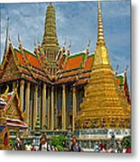 Thai-khmer Pagoda And Golden Chedis At Grand Palace Of Thailand  Metal Print