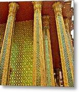 Thai-kmer Pagoda Columns At Grand Palace Of Thailand In Bangkok Metal Print