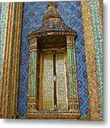 Thai-kmer Pagoda Window At Grand Palace Of Thailand In Bangkok Metal Print