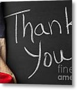 Thank You Sign On Chalkboard Metal Print