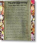 Thanksgiving By Ella Wheeler Wilcox Metal Print