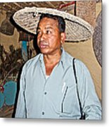 Tharu Chitwan National Park Naturalist In Tharu Village In Nepal  Metal Print