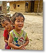 Tharu Village Children Love To Greet Us-nepal- Metal Print