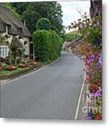 Thatch And Flowers Metal Print