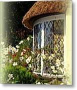 Thatched Cottage Window Metal Print
