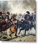 The 8th Napoleonic Cavalry Regiment Charging Into Battle  Metal Print