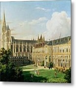 The Abbey Church Of Saint-denis And The School Of The Legion Of Honour In 1840 Oil On Canvas Metal Print
