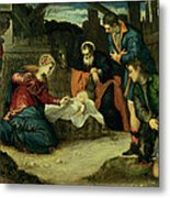 The Adoration Of The Shepherds, 1540s Metal Print