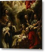 The Adoration Of The Shepherds Metal Print by Jan Cossiers