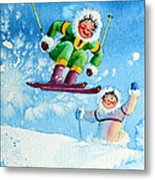 The Aerial Skier - 10 Metal Print by Hanne Lore Koehler