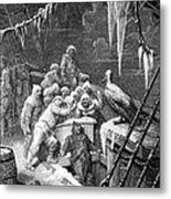 The Albatross Being Fed By The Sailors On The The Ship Marooned In The Frozen Seas Of Antartica Metal Print by Gustave Dore
