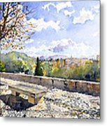 The Alhambra In Autumn Metal Print