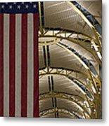 The American Flag At Reagan Airport Metal Print