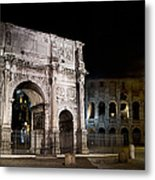 The Arch Of Constantine And The Colosseum At Night Metal Print