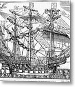 The Ark Raleigh The Flagship Of The English Fleet From Leisure Hour Metal Print