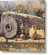 The Armenian Still-life With A Fragment Cross - Stone  Armenian Khachqar Metal Print