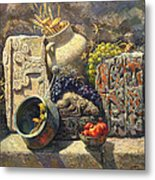 The Armenian Still Life With Cross  Stone Khachkar Metal Print