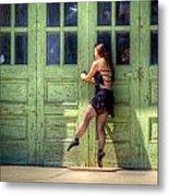 The Ballerina And The Green Doors Metal Print