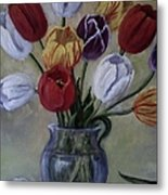 The Banker's Tulips Metal Print