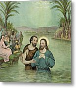 The Baptism Of Jesus Christ Circa 1893 Metal Print by Aged Pixel