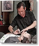 The Barber Shaves Another Customer 02 Metal Print
