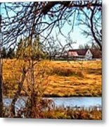 The Barn In Autumn Metal Print