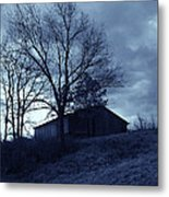 The Barn In Blue Metal Print