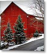The Barn In Wintertime Metal Print
