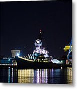 The Battleship New Jersey At Night Metal Print