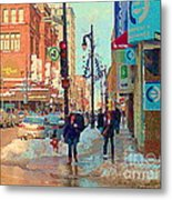 The Bay Department Store Downtown Montreal University And St Catherine Winter City Scene C Spandau  Metal Print