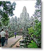 The Bayon In Angkor Thom In Angkor Wat Archeological Park-cambodia Metal Print