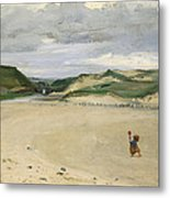 The Beach At Ambleteuse, 1869 Oil On Canvas Metal Print