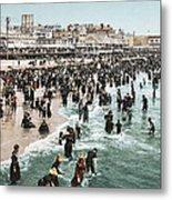 The Beach At Atlantic City 1902 Metal Print