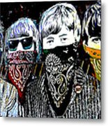The Beatles wearing face masks Metal Print