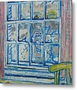 The Bedroom Window Oil & Pastel On Paper Metal Print