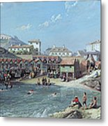 The Beginning Of Sea Swimming In The Old Port Of Biarritz  Metal Print