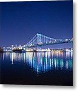 The Benjamin Franklin Bridge At Night Metal Print