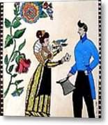 The Betrothal-folk Art Metal Print