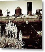 The Black Steam Engine Metal Print