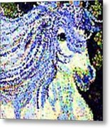 The Blue And White Pony Metal Print