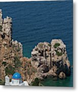 The Blue Domed Church At The Water S Metal Print