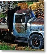 The Blue Farm Truck Metal Print