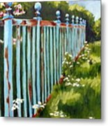 The Blue Fence Metal Print