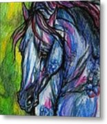 The Blue Horse On Green Background Metal Print