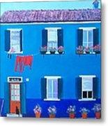The Blue House Burano Metal Print