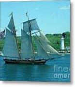 American Tall Ship Sails Past Mcnabs Island Metal Print
