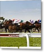 The Blur Of Racehorses Racing By The Rails On A Race Track  Metal Print