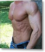 The Bodybuilder  Soft Touch Metal Print by Jake Hartz