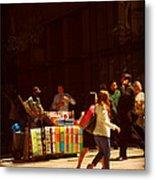 The Bookseller - New York City Street Scene - Street Vendor Metal Print