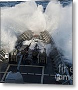 The Bow Of Uss Cowpens Plows Metal Print